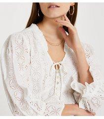 river island womens cream broderie corset crop blouse top