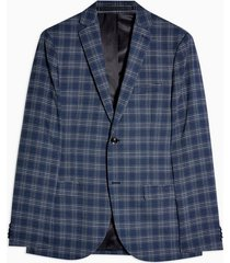 mens blue check super skinny single breasted suit blazer with notch lapels