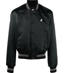 black satin logo varsity jacket
