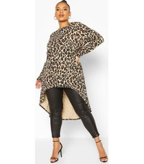 plus leopard print maxi top, brown