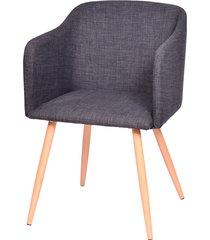 cadeira charla com braço e base em madeira beni - grafite