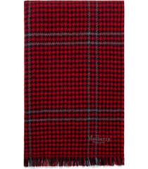 women's mulberry check & houndstooth wool scarf, size one size - red