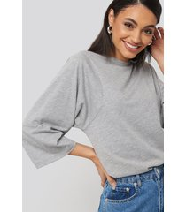 na-kd basic 3/4 sleeve oversized tee - grey
