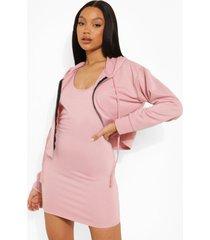 mini jurk met bandjes en korte hoodie set, dusky pink