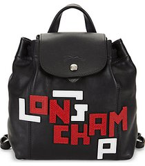 le pliage leather logo backpack