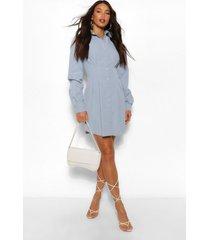 tall geweven blouse jurk met plooien en knopen, denimblauw
