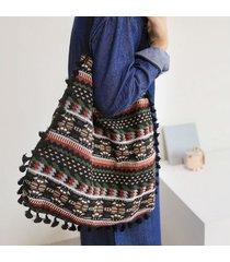 bolsas tote/ bolsos de bandolera de mujer borla de lino de algodón-negro
