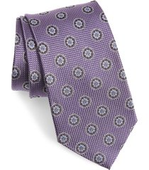 men's nordstrom medallion silk tie, size regular - purple