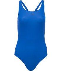 maiô para natação adidas fit suit 3s - adulto - azul/branco