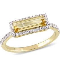 baguette cut citrine (1-1/5 ct. t.w) and white sapphire (1/3 ct. t.w.) halo ring in 18k yellow gold over sterling silver