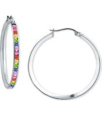 "giani bernini rainbow cubic zirconia small hoop earrings in sterling silver, 1"", created for macy's"