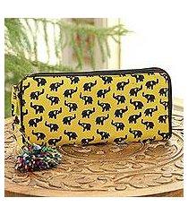 batik cotton wallet, 'elephant maize' (9 inch) (india)