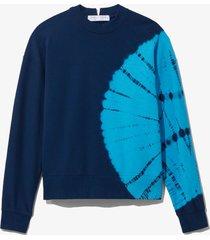 proenza schouler white label tie dye sweatshirt navy/teal bullseye tie dye/blue l