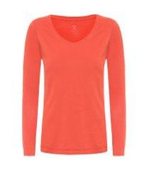 t-shirt feminina pima berlim decote u - laranja