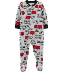 carter's toddler boy 1-piece cars fleece footie pjs