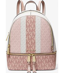 mk zaino rhea medio color-block a righe con logo - ballet multi - michael kors
