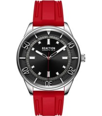 kenneth cole reaction men's dress sport round red silicon strap watch 46mm