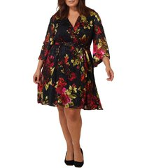 plus size women's maree pour toi floral print burnout wrap dress, size 16w - black