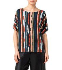 women's akris punto wavy stripe t-shirt, size 14 - blue