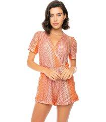 orange chevron knitted short jumpsuit