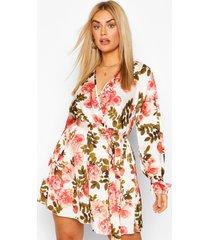 plus floral wrap tie waist skater dress, coral