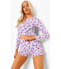 vlinder pyjama set met shorts en franjes, pink