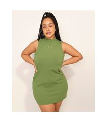 vestido canelado com bordado curto sem manga baw clothing verde militar