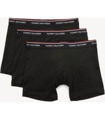 tommy hilfiger men's classic cotton boxer brief 3pk black/ black / black - l