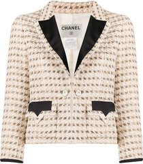 chanel pre-owned lurex tweed jacket - neutrals