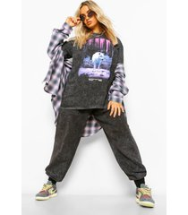 acid wash gebleekte oversized wolf print t-shirt, charcoal