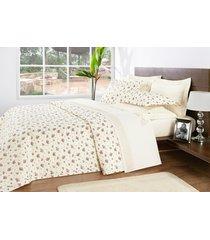 colcha / cobre leito cama super king size palha com flores percal 200 fios com 3 peças - cobreleito nobre - bernadete casa