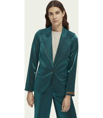 scotch & soda single-breasted metallic blazer