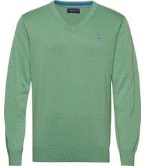 classic cotton v-neck gebreide trui v-hals groen gant