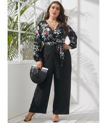 yoins plus talla abrigo con estampado floral y cuello en v diseño cinturón diseño mangas largas mono