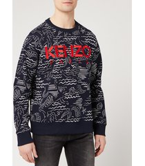 kenzo men's all over print sweatshirt - midnight blue - xxl
