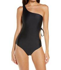 jade swim sena one-shoulder one-piece swimsuit, size medium in black at nordstrom