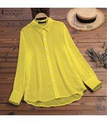zanzea mujeres botones abajo largo tapas de la camisa señoras flojas de la solapa de tapas de la blusa del tamaño extra grande -amarillo