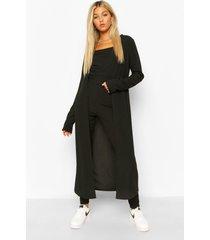 tall driedelige geribbeld hemdje, leggings & cardigan set, black