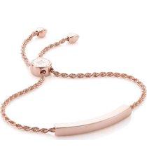 linear chain bracelet, rose gold vermeil on silver
