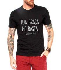 camiseta criativa urbana tua graça religiosa masculina