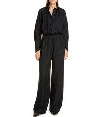 women's zero + maria cornejo ram gaban cheetah jacquard jumpsuit, size 6 - black