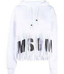 msgm logo fringe hem hoodie - white