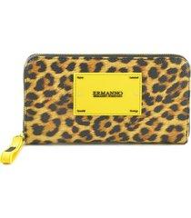 ermanno scervino yellow animal print zip around wallet