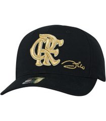 boné aba curva do flamengo zico supercap bordado - snapback - adulto - preto