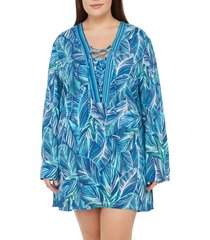 plus size women's la blanca sketched leaves tunic cover-up, size 3x - blue