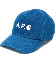 a.p.c. printed logo denim cap - blue