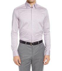 men's eton soft casual line slim fit pique knit shirt, size small - purple