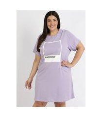 camisola feminina plus size pantone blusa manga curta lilás
