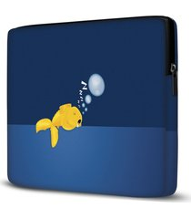 capa para notebook fish sleeping 15.6 a 17 polegadas - azul - dafiti
