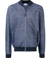 brioni elbow patches bomber jacket - blue
